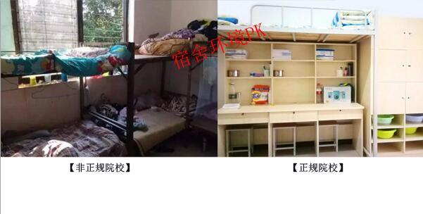 非正规院校与正规院校宿舍环境对比.jpg